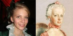 Archduchess Gabriella of Austria, distant relative of Marie Antoinette, seen here with a portrait of Marie as a child. WOW they look so similar.