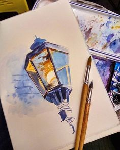 lamp with reflection watercolour a r t painting - watercolor sketches to paint Inspiration Art, Art Inspo, Art Sketches, Art Drawings, Arte Sketchbook, Guache, Watercolor Illustration, Watercolour Drawings, Watercolor Artwork