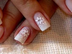 The Astonishing Flower nail designs 2015 Digital Imagery French Nails, French Manicure Nails, Manicure Y Pedicure, Diy Nails, Nail Designs 2015, Flower Nail Designs, Flower Nail Art, Wedding Manicure, Wedding Nails Design