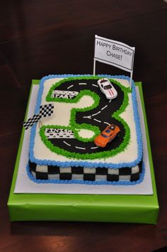 I made a cake similar to this for my son's birthday years ago- I just used 2 rounds to make a figure 8.
