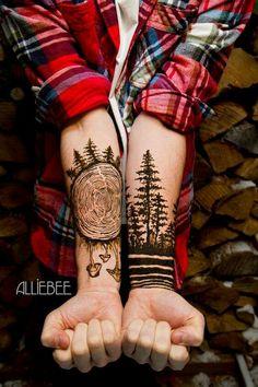 Henna Tree, Tree Tattoo Men, Tree Ring Tattoo, Pine Tree Tattoo, Deer Tattoo, Raven Tattoo, Cool Forearm Tattoos, Forearm Tattoo Design, Awesome Tattoos