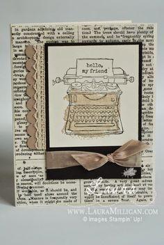Stampin' Up!, Tap Tap Tap, Typeset DSP, Vintage Typewriter, Handmade Vintage details on my blog post today - www.lauramilligan.com