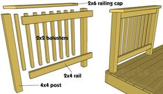 a level surface to place drinks.   The infill section of rails is usually constructed of the repeated use of pickets or balusters.  These can come in a number of materials, shapes, and sizes.          Related Articles  How to build a deck 6 - Railing