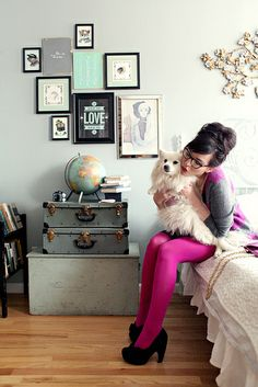 stripesweater3 by keikolynnsogreat, via Flickr  WANT her hair her dog her clothes her room did I mention I want her hair?
