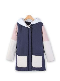 Pockets Faux Fur Patchwork Fleece Hooded Thicken Coat