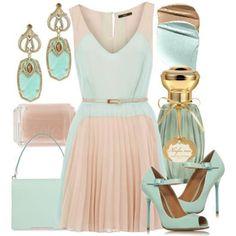Pastel classic work dress ...