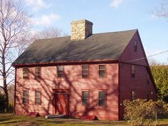 The saltbox originated in New England, and is an example of American colonial architecture. One theory holds that the saltbox form was popularized by Queen Anne's taxation of houses greater than one story. Since the rear of the roof descended to the height of a single-story building, the structure was exempt from the tax.