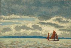 ✨ Else Zinkeisen, German (*1871-?) - Gewölk über der Elbe, 1920er Jahre. Farbholzschnitt auf Japanpapier, H: 18 cm, B: 26,4 cm ::: Clouds over River Elbe, color woodcut