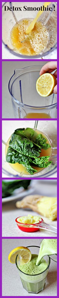 Detox Smoothie // pineapple, lemon, spinach leaves, grated ginger #healthy