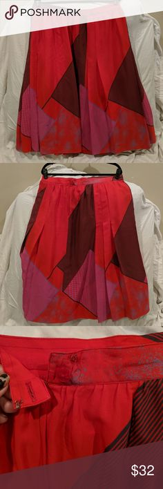 caaf8debbb11 Geometric plus size vintage red pink black skirt Wow. This pattern and the  colors are