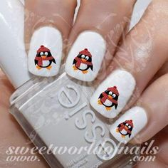 Christmas Nails Cute Penguin Nail Water Decals https://www.sweetworldofnails.com