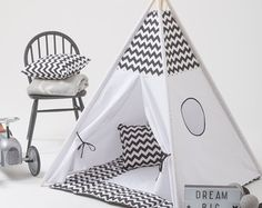 Ready to ship - no need to wait!   Kids play tent set in a pattern of grey stars. Grey is the perfect modern neutral. Go a bit colour splashy adding three funky mats to your set- choose between mint, pink and yellow. You can also purchase stars or polka dots. Super cute hey?   We use thick cotton canvas for durability and delicate bright fabrics for playful and creative look. You get well-made stable and lasting teepee set for endless fun with your kid! Choose your set:  ☑ Teepee te...
