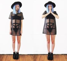 Get this look: http://lb.nu/look/7714868  More looks by Gigi M.: http://lb.nu/daeva101  Items in this look:  Newdress Mesh Top, Style Moi Bondage Swimsuit   #edgy #gothic #grunge