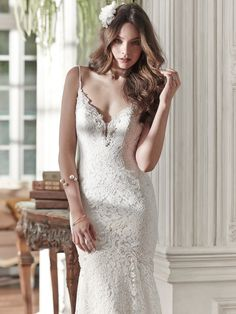 Maggie Sottero - PAIGELY, Modern femininity is found in this lace fit and flare…