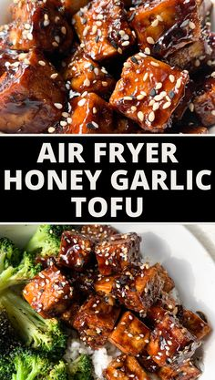 Crispy air fryer tofu is made to perfection every time, with less fat than deep-frying. In less than 20 minutes, you are tossing your air fryer tofu in a homemade honey garlic sauce that is balanced in flavor and totally satisfying. #airfyer #tofu