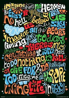 Imagine (John Lennon) Psychedelic Typography Print, Lyrics Poster, Rock Song Illustration, Music Art Poster and Art Print