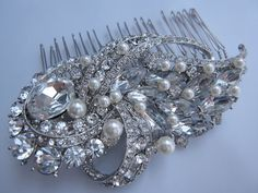 Crystal Rhinestones Hair Comb - vintage inspired bridal hair comb , swarovski pearl comb,bridal hair accessories, wedding pearl comb