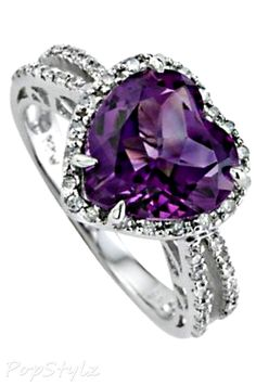 Beautiful ring with my birthstone! Genuine Amethyst White Gold Ring my birth stone or blue Safire. LOVE this!!!