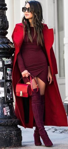 red and maroon fashion trends / coat + bag + dress + over knee boots