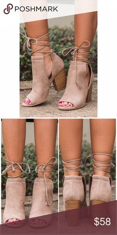 "Taupe Side Cut Lace Up Bootie Taupe Side Cut Lace Up Peep toe Bootie. Stylish and elegant with a 3"" chunky heel Lulupie Shoes Ankle Boots & Booties"