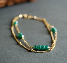 Hokulani bracelet - emerald green onyx layered 14kt gold filled