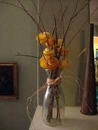 Rustic Wedding Centerpiece or even a fall centerpiece Vintage Centerpieces, Rustic Wedding Centerpieces, Wedding Flower Arrangements, Floral Arrangements, Wedding Flowers, Wedding Decorations, Centerpiece Ideas, Paper Flower Centerpieces, Deco Nature
