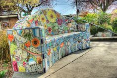 Tile Bench by Dave Zombie, via Flickr  full view mosaic bench