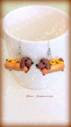 Orecchini in #fimo handmade Cani #Bassotti Hot Dog kawaii miniature idee regalo amica , by Chiara - Creazioni in fimo, 10,00 € su misshobby.com