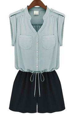 Light Blue and Black V-neck Drawstring Sleeveless Jumpsuit - Sheinside.com