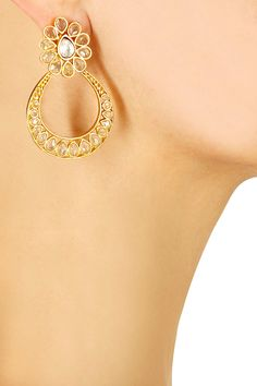 Gold plated polki and kundan studded bali earrings available only at Pernia's Pop-Up Shop.