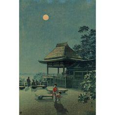 土屋光逸 (風光礼讃) - 石山寺の秋月 (1933)