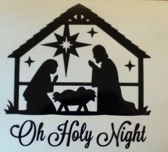 Oh holy night nativity - Silhouette Design Store – Browse Designs - Christmas Wood, Christmas Signs, Christmas Projects, Christmas Manger, Christmas Bells, Merry Christmas, Christmas Nativity Scene, Christmas Ornament, Silhouette Projects