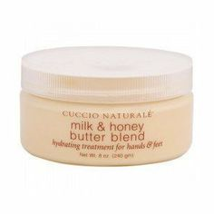 Cuccio Naturale Butter Blend Treatment Milk & Honey - 8 oz by Cuccio. $10.72. Intense hydrating system. Softens extra dry skin areas. Rich moisturizing butter. Contains honey extract, a natural humectant. Cuccio Naturale Milk & Honey Butter Blend, Hydrating Treatment for Hands & Feet in 8 oz. size jar. Give your skin the softening properties of milk & honey with this rich hydrating cream. To use: Apply to hands, feet or any other areas of the body that need extra mo...