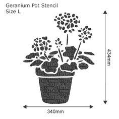 Geranium Pot Stencil - Buy reusable wall stencils online at The Stencil Studio
