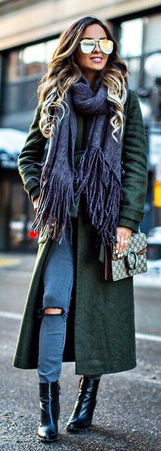 #winter #fashion /  Green Coat / Dark Fringe Scarf / Dark Skinny Denim / Black Leather Booties