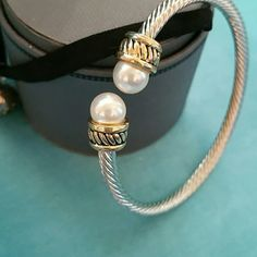 Rhodium cable bracelet In silver and gold color,  faux pearls,  great quality Jewelry Bracelets