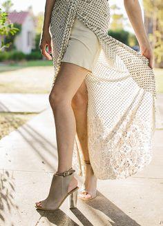Taupe Peep Toe Booties + Wrap Skirt