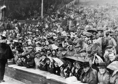 April 29th. 1950: Liverpool fans in the rain at Wembley