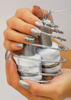 "LeChat Perfect Match Gel Polish ""The Silver Screen"" and ""Electric Masquerade"""