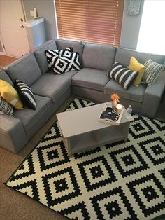 Black and white living room IKEA Target Yellow accents Living Room Decor Colors, Elegant Living Room, Living Room Color Schemes, Living Room White, Living Room Paint, Small Living Rooms, Rugs In Living Room, Living Room Designs, Bedroom Decor