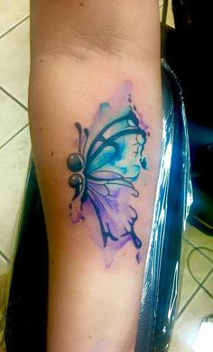 nice Watercolor tattoo - Watercolor semi colon butterfly by Shawn Elliott at Ikonic Ink. Tattoos q Semicolon Butterfly Tattoo, Watercolor Butterfly Tattoo, Semicolon Tattoo, Butterfly Tattoo Designs, Watercolor Tattoos, Butterfly Tattoo Meaning, Girly Tattoos, Body Art Tattoos, New Tattoos