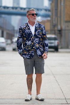 Nick Wooster, tropical print blazer, white shirt, grey shorts, white fringed brogues