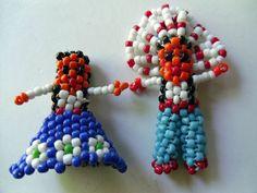 2 Vintage Native American Seed Bead Charm Figures