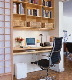 home office Decorating Ideas - like those baskets for the hutch shelf
