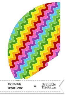 Rainbow Chevron Treat Cone from PrintableTreats.com