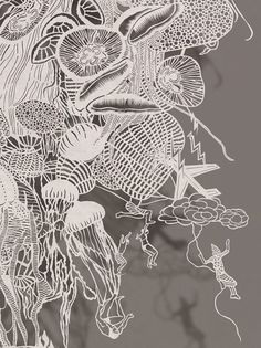 "Hand Cut Rice paper by Bovey Lee  ""Atomic Jellyfish""  (Detail 2)"