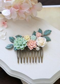 Verdigris Leaf and Flowers Hair Comb, Mint Pink Ivory Floral Hair Comb, Rustic Wedding, Garden Wedding Bridal Hair Accessory