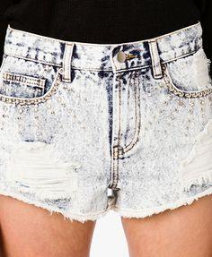 Rhinestoned Mineral Washed Denim Shorts - $22.80