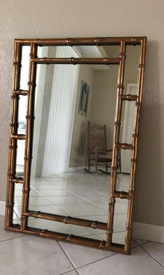 Chinoiserie, Unique Mirrors, Copper Frame, Faux Bamboo, Iron Doors, Copper Color, Metallic Colors, Hollywood Regency, Antique Copper