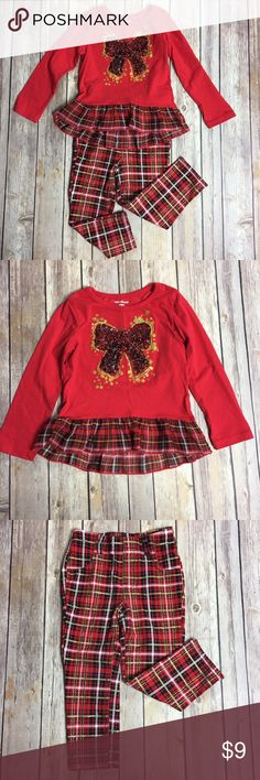 Girls Xmas Outfit EUC• Awesome outfit for Christmas holiday• Worn by my youngest to our ugly sweater party and she was the cutest little girl at out party• Longsleeves top with red plaid bow• 60% Cotton• 50% Polyester• Plaid Jeggings• 71% Cotton• 25% Polyester• 4% Spandex• 🚫No Trade/PP🚫 Garanimals Matching Sets